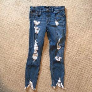 Express destroyed ankle legging denim size 8s